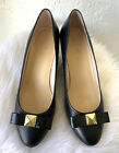 Kate Spade Black Gold Bow Leather Wedge Heel Pumps Size 9M