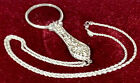 Beautiful VINTAGE Joan Rivers Silvertone Magnifying Glass Pendant Necklace