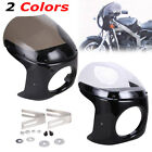 7'' Motorcycle Cafe Racer Headlight Fairing Screen Windshield For Harley 2Style