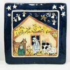 Christmas Nativity Studio Pottery Tile Wall Hanging Art Plaque Signed 91