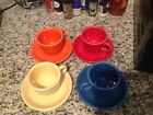 Fiesta Ware Cups And Saucers 8 Pieces Total 4 Colors