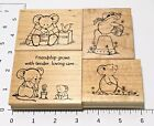 Great Impressions Lot 4 Wood Block Stamps Mice Friendship Get Well gently used