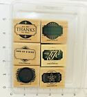 Stampin Up Designer Label Set of 6 Wood Mounted Stamps 2006 Blank Pretty Thanks