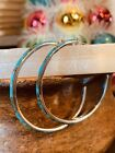 Native American Style Sterling Silver XXX Large Turquoise Inlay Hoop Earrings