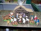 Vintage Hand Painted NATIVITY SET Italy 22 figures lightup barn 1950s