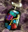 Fused Dichroic Glass and Sterling Silver Pendant Necklace