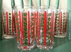 Vintage Holly Berry Christmas  Drinking Glasses Tumblers Water Set of 6