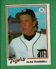 1978 BURGER KING DETROIT TIGERS #15 ALAN TRAMMELL RC ROOKIE CARD HALL OF FAME