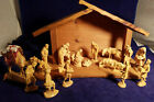 Anri Italian Hand Carved Wood 20pc Kuolt Nativity Set 3 with stable