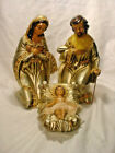 BEAUTIFUL 3 PC 10 GOLD PAPER MACHE NATIVITY SCENE BY KURT ADLER JAPAN
