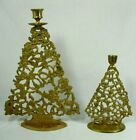 2 Vintage Large Small Brass Christmas Tree Ornate Taper Candle Stick Holders