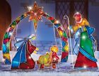 Christmas Nativity Scene w Arch 4Pcs Outdoor Lighted Holiday Decor Display NIB