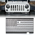 Mesh Grille Insert Black White w Flag Hood Lock Hole for 07 18 Jeep Wrangler JK