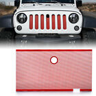 Red Stainless Steel Mesh Grille Insert w Hood Lock Hole for 07 18 Jeep JK JKU
