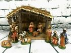 Sears Nativity Wood Stable 11 Ceramic Figures Set Box Christmas Holiday Vintage