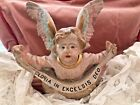 ANTIQUE 1800 FRENCH POLYCHROME NATIVITY ANGEL CHERUB PINK BLUE GOLD HEAVY STATUE