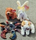 LOT OF 4: TY Beanie Babies SEQUOIA Bea, CARROTS rabbit, DARLING dog, CLAUDE crab