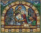 Christmas Nativity Scene Stained Glass Counted Cross Stitch COMPLETE KIT 4 451y