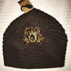 C.C Turban Womans Knittet Pleated Brown Beanie Crochet Wrap with Broach