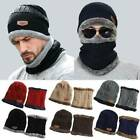 2-Pieces Men Women Winter Beanie Hat +Scarf Set Warm Knit Thick Fleece Lined Cap