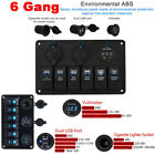 ON OFF Toggle Switch Panel 2USB For Car SUV Marine 6 Gang Truck Camper