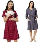 Zeta Ville Womens Maternity Hospital Gown Robe Nightie Set Labour