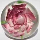 BEAUTIFUL VINTAGE 287 UNSIGNED  OPEN PEDAL PINK ROSE  MURANO PAPERWEIGHT