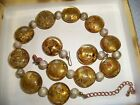 VINTAGE ITALIAN MIRANO AVENTURINE GOLD AND FOIL BEAD ART GLASS NECKLACE EARRING