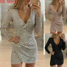 Womens Sequined V Neck Bodycon Club Party Cocktail Evening Irregular Mini Dress