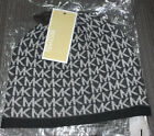 Michael Kors Womens Small Repeat Logo Knit Beanie Hat. Derby Grey. One Size. NWT