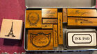 NEW IN TIN BOX PAPER GREETING WOOD MOUNTED RUBBER STAMPS BONJOUR PARIS INK PAD
