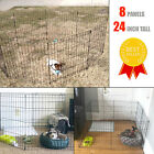 Puppy Playpen 8 Panel 24 Inch Tall Dog Bunny Kennel Play Pen Folding Fence Black