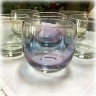 6 Mid Century Modern MCM FEDERAL GLASS Iridescent GEM TONE Roly Poly Glasses