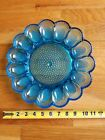 Beautiful Vintage Indiana Glass Blue Deviled Egg Plate Hobnail