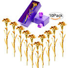 Lot10 24K Gold Plated Romantic Rose Carnation Flower Birthday Mothers Day Gift