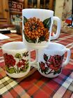 Vintage 3 Glasbake Flower Mugs Rose Zinnia