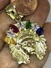 GOLD American Indian Native chief Pendant Apache 10k necklace 170