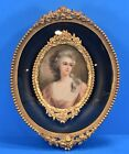Antique 7 Oval Bubble Glass Picture Frame Floral Metal Filigree Victorian L751