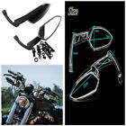 1 Pair CNC Aluminum Motorcycle Touring Cruiser Chopper Rear View Side Mirrors