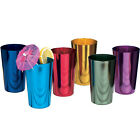 Vintage Drinking Glasses Tumblers Aluminum Colored Metal Cup Multicolor