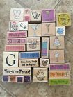 Wood Mounted Rubber Stamps Mixed Random Lot of 31 Hearts Halloween Party Gift