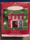 2001 Hallmark Fire Station No. 1 Christmas Ornament Metal In Box Town