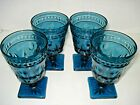 4 Vtg INDIANA GLASS Colony WATER/Wine Glasses Goblets Park Lane Smoke Blue 5.5