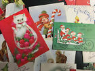 x21 Vintage Unused Christmas Cards Kitten MCM Family Holly Nativity Candles ++