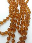 antique Czech Amber glass beads hand knotted for vintage necklace 43 beaded