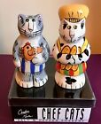 NIP Chef Cats CATZILLA Salt Pepper Shakers Ceramic by Candace Reiter NEW