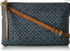 FOSSIL Sydney Top Zip Slim Leather Crossbody Purse Hand Bag Navy Blue Pattern