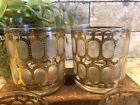 Cora Gold Frosted Short Rocks Glasses Mid Century Modern Barware Low Ball Retro