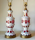 Pair of Vintage Bohemian Czech Crystal Cut to Cranberry Glass Lamps