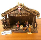 Vintage Italy Holy Family Nativity Set 8 Pieces Wood Manger Depose Fontanini